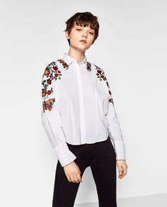 Рубашка с цветочной вышивкой Zara