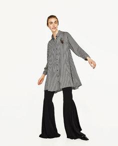 Платье с принтом в клетку виши Zara