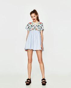 Платье-комбинезон с вышивкой Zara