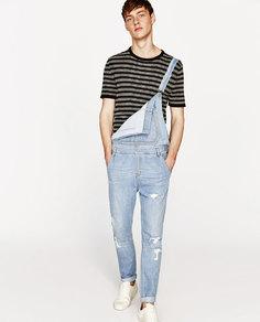 Укороченный джинсовый комбинезон Zara