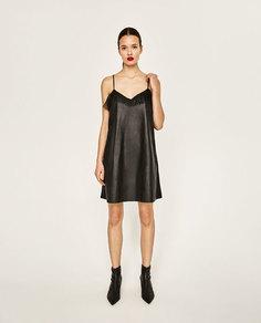 Платье из искусственной кожи в бельевом стиле Zara