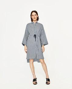 Платье в стиле oversize с принтом в клетку виши и шнуром Zara