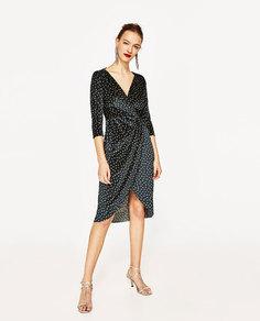 Бархатное платье в горошек Zara