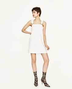 Платье из искусственной кожи с воланами Zara