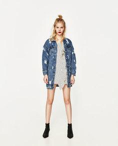 Джинсовое платье асимметричного кроя в полоску Zara