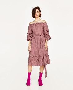 Платье в клетку виши с воланами на рукавах Zara