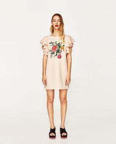 Платье с цветочной вышивкой Zara