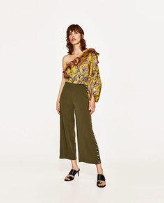 Укороченные брюки с пуговицами Zara