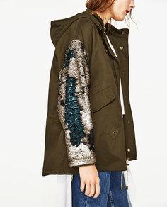 Парка с отделкой пайетками на рукавах Zara