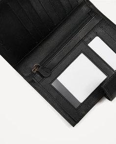 Черный кожаный бумажник для карточек Zara