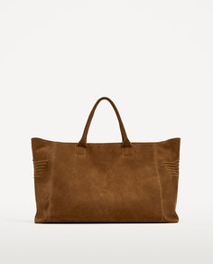 Коричневая сумка-боулинг со строчкой Zara