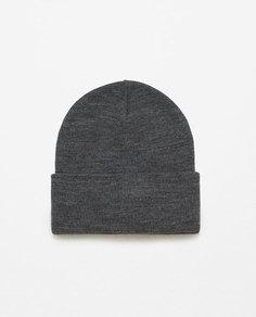 Трикотажная шапка с жаккардовым отворотом Zara