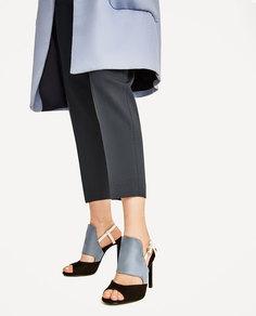 Трехцветные босоножки на каблуке Zara