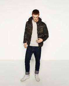 Куртка-пуховик с камуфляжным принтом Zara