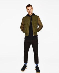 Комбинированная куртка-бомбер Zara
