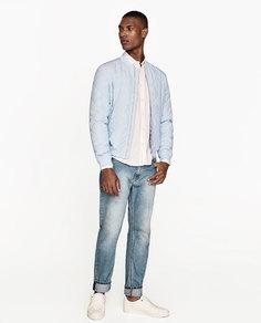 Стеганая куртка-бомбер в полоску Zara