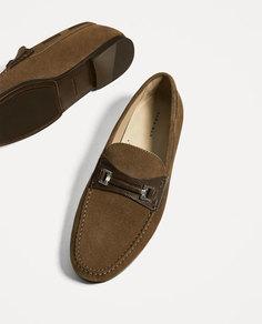 Коричневые кожаные мокасины с деталью Zara