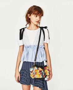 Сумка-мешок мини-формата с бахромой разных цветов Zara