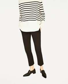 Черные кожаные туфли на плоской подошве Zara