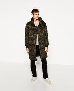 Пальто-пуховик с камуфляжным принтом Zara