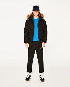 Стеганое пальто-пуховик Zara