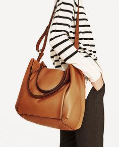 Кожаная сумка-мешок Zara