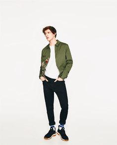 Джинсовая куртка-бомбер с вышивкой Zara