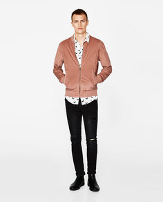 Куртка-бомбер из искусственной замши Zara