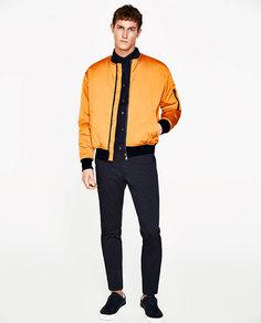 Стеганая куртка-бомбер неонового цвета Zara