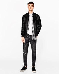 Куртка-бомбер кожаная Zara