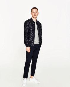 Стеганая куртка-бомбер из искусственной кожи Zara