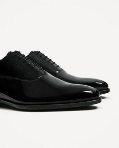 Черные лакированные кожаные туфли Zara
