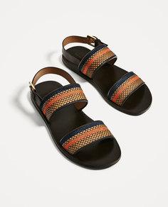 Кожаные сандалии с ремешками коричневого и оранжевого цветов Zara