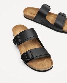 Кожаные сандалии с двумя ремешками Zara