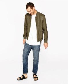 Базовая куртка-бомбер изо льна Zara