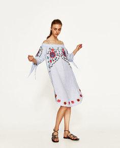 Платье изо льна с цветочной вышивкой Zara