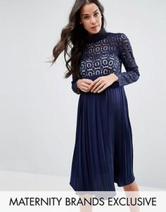 Платье миди с кружевным топом и плиссированной юбкой Little Mistress Maternity - Темно-синий