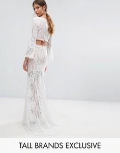 Кружевное платье макси с вырезом на спине Jarlo Tall - Белый