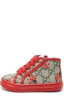 Текстильные кроссовки с рисунком Gucci
