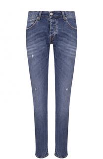 Зауженные джинсы с декоративными потертостями 2 Men Jeans