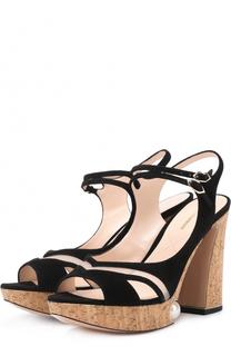 Замшевые босоножки на высоком каблуке и платформе с декором Nicholas Kirkwood