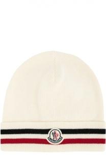 Шерстяная шапка с контрастной отделкой Moncler