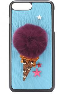 Кожаный чехол для iPhone 7 Plus с аппликацией Dolce & Gabbana