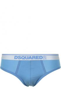 Хлопковые брифы с логотипом бренда Dsquared2