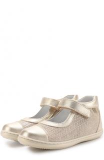 Комбинированные туфли с плетеным рисунком и металлизированной отделкой Beberlis