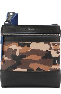 Кожаная сумка-планшет с внешним карманом на молнии Furla