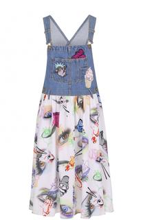 Платье-миди с шелковой юбкой и джинсовым лифом Kenzo