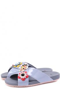 Лаковые шлепанцы с цветочной аппликацией Fendi