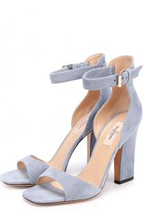 Замшевые босоножки Plum на устойчивом каблуке Valentino