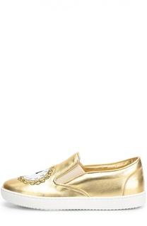 Слипоны из металлизированной кожи с аппликацией Dolce & Gabbana
